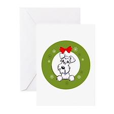White Schnauzer Christmas Greeting Cards (Pk of 20