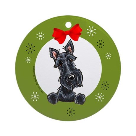 Black Scottie Christmas Ornament (Round)