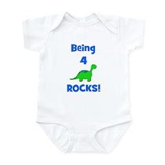 Being 4 Rocks! Dinosaur Infant Bodysuit