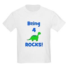 Being 4 Rocks! Dinosaur Kids Light T-Shirt