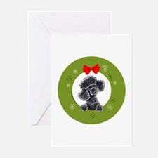 Black Poodle Christmas Greeting Cards (Pk of 20)