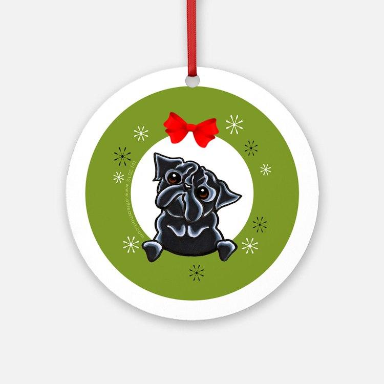 black Pug Christmas Ornament (Round)