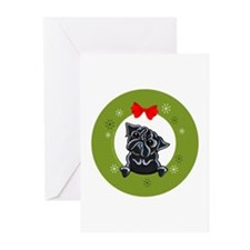 black Pug Christmas Greeting Cards (Pk of 10)