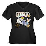 Bingo Boss Animals Women's Plus Size V-Neck Dark T