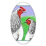 Columbian Cock and Hen Oval Sticker