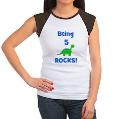Being 5 Rocks! Dinosaur Women's Cap Sleeve T-Shirt