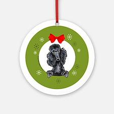 Black Standard Poodle Christmas Ornament (Round)