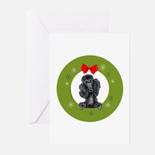 Black Standard Poodle Christmas Greeting Cards (Pk
