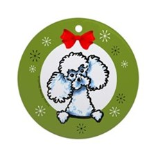 White Toy Poodle Christmas Ornament (Round)