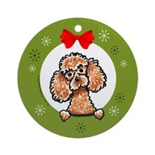 Apricot Poodle Christmas Ornament (Round)