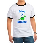 Being 7 Rocks! Dinosaur Ringer T