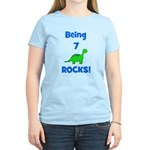 Being 7 Rocks! Dinosaur Women's Light T-Shirt