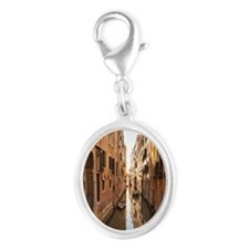 A canal in Venice Silver Oval Charm