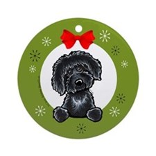Black Labradoodle Christmas Ornament (Round)