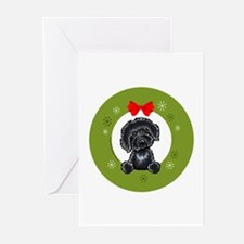 Black Labradoodle Christmas Greeting Cards (Pk of