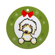 Labradoodle (Golden) Christmas Ornament (Round)