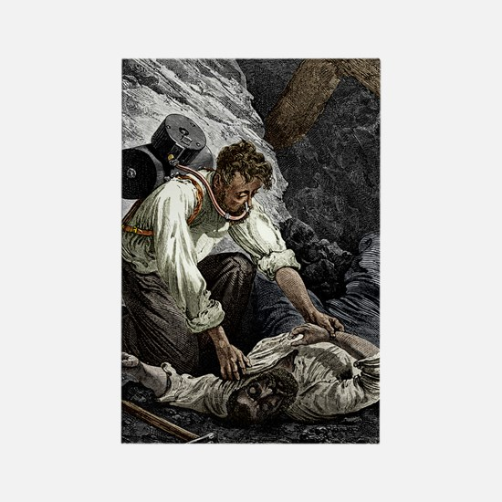 Coal mine rescue, 19th century Rectangle Magnet