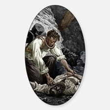 Coal mine rescue, 19th century Sticker (Oval)