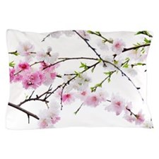 White and pink cherry blossoms Pillow Case
