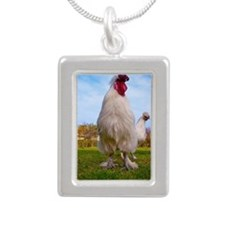 White chicken Silver Portrait Necklace