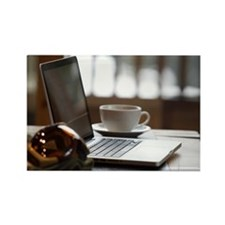 Ski goggles and laptop with coffe Rectangle Magnet