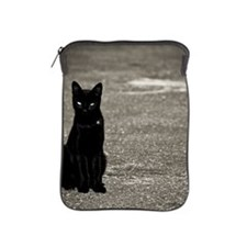 Black cat on street iPad Sleeve