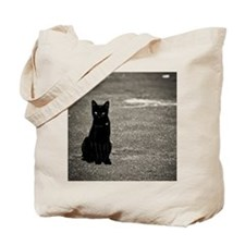 Black cat on street Tote Bag
