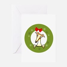 Fawn Greyhound Whippet Christmas Greeting Cards (P