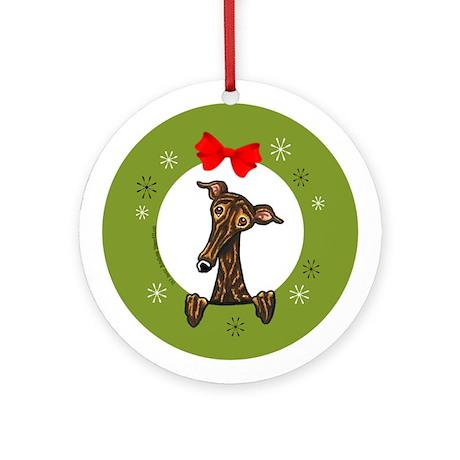Brindle Greyhound Whippet Christmas Ornament (Roun