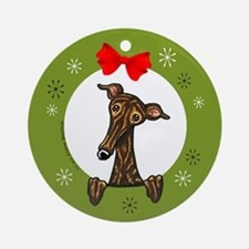 Brindle Greyhound Whippet Christmas Ornament (Roun