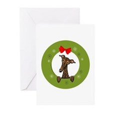 Brindle Greyhound Whippet Christmas Greeting Cards