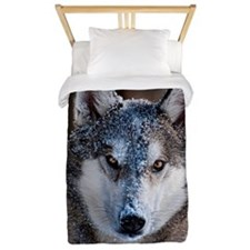 Timber wolf in snow Twin Duvet