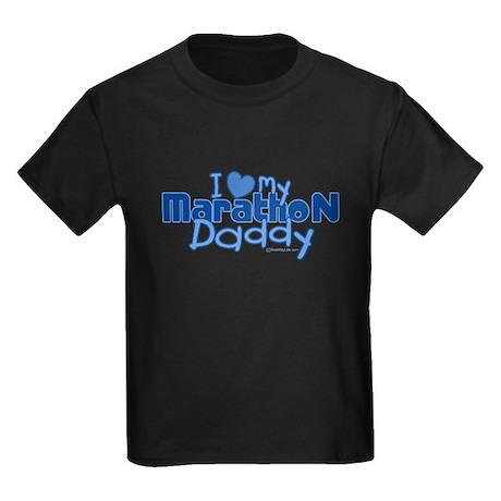 I Love My Marathon Daddy Kids Dark T-Shirt