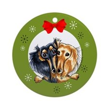 Black Tan Longhair Dachshund Christmas Ornament