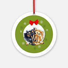 Black Tan Longhair Dachshund Christmas Ornament