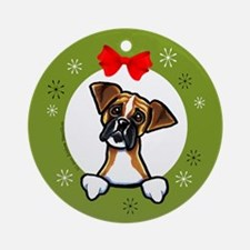 Boxer Christmas Ornament (Round)