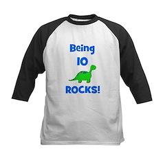 Being 10 Rocks! Dinosaur Kids Baseball Jersey