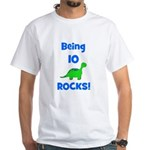 Being 10 Rocks! Dinosaur White T-Shirt