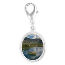Lake Bled against mountains and Silver Oval Charm