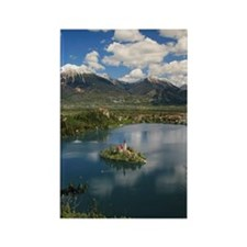 Lake Bled against mountains and b Rectangle Magnet