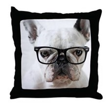 Close up of white dog Throw Pillow