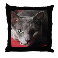Russian blue cat on red pillow Throw Pillow