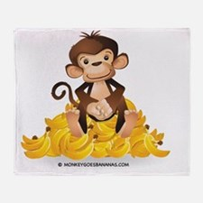 MGB - Monkey Sitting on Pile of Bana Throw Blanket