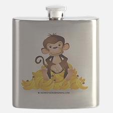 MGB - Monkey Sitting on Pile of Bananas - Wh Flask