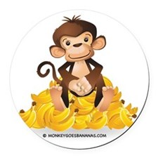MGB - Monkey Sitting on Pile of B Round Car Magnet
