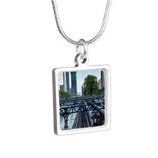 Van Buren Street Station a Silver Square Necklace