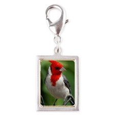 Red crested cardinal Silver Portrait Charm