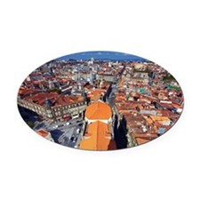 View from Clerigos Tower, Porto, P Oval Car Magnet