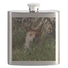 Fox in long grass Flask