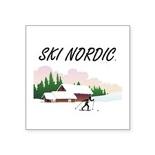 "Ski Nordic Square Sticker 3"" x 3"""